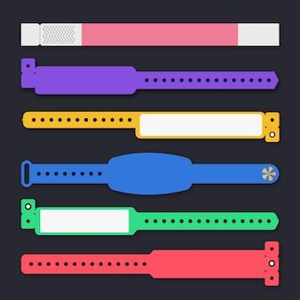 Armband sjabloon evenement toegang vector set andere stijl voor id fan zone of vip party ingang