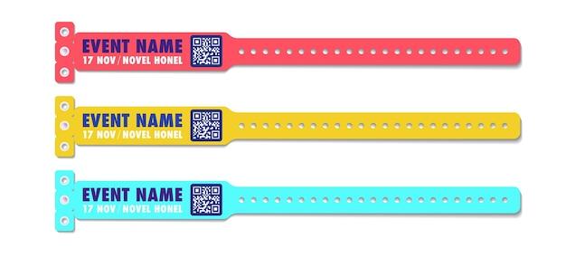 Armband vector sjabloon evenement toegang verschillende kleuren set voor id fan zone of vip party ingang