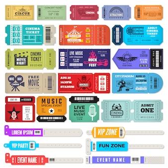Armband voor evenementen. toegangssleutel voor muziekfeest polsbandjes toegangsbewijzen ontwerpsjabloon