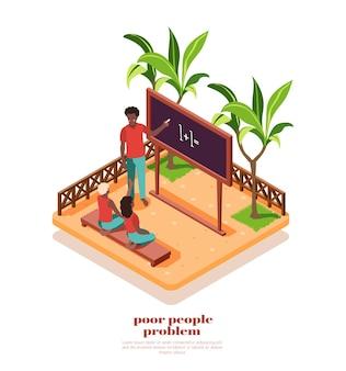Arme afrikaanse mensen studeren in een kleine klas buiten isometrische compositie