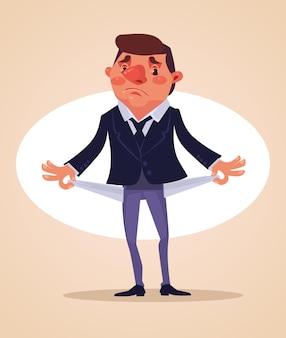 Arme kantoormedewerker karakter geen geld, platte cartoon afbeelding