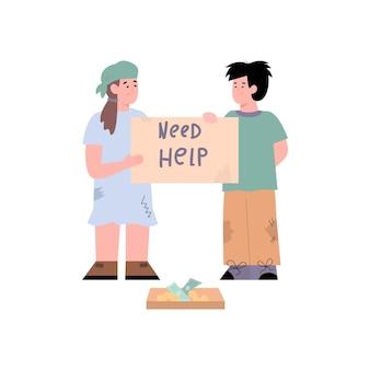 Arme kinderen bedelen om hulp en donatie cartoon vectorillustratie geïsoleerd