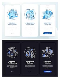 Armprothesetaken onboarding paginascherm van mobiele app met concepten