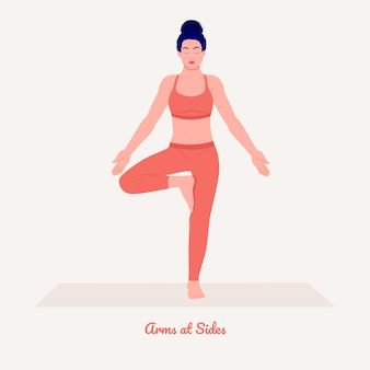 Arms at sides yoga pose jonge vrouw die yoga-oefening beoefent