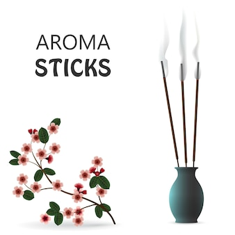 Aroma rook riet stokken in keramische blauwe fles geïsoleerd op een witte achtergrond. sakura aromatherapie vectorillustratie.