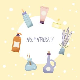 Aromatherapie spa-pictogrammen in rond frame