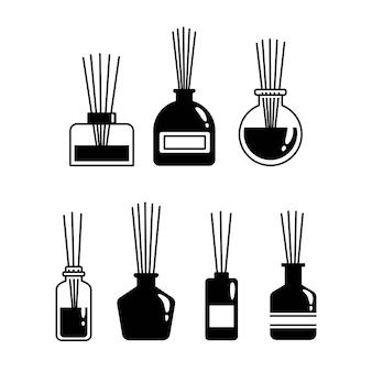 Aromatherapie sticks in een glazen fles, vector set zwarte diffuser iconen op witte achtergrond
