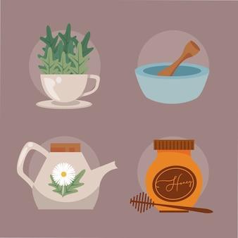Aromatherapie vier pictogrammen