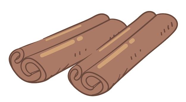 Aromatisch kruid voor koken en bakken, geïsoleerd icoon van kaneel bruin stokje. ingrediënt gebruikt voor voedsel, bakkerij en aziatische keuken. smakelijke toevoeging voor gerechten. symbool van kerstvakantie, vector in flat