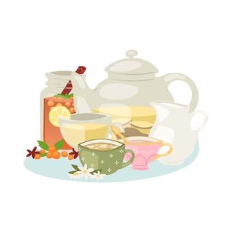 Aromatische kruidenthee met kruiden en specerijen ingrediënten kamille, citroen en steranijs, rozenbottel, jasmijn, vanilleboon en theepot illustratie.
