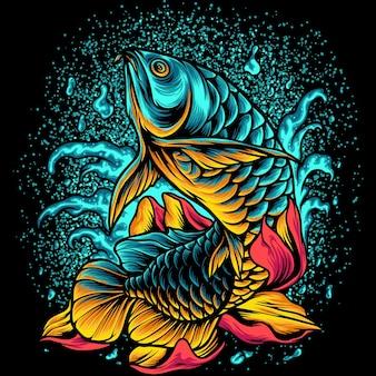Arowana vis met bloemen