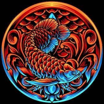 Arowana vis met ornamenten