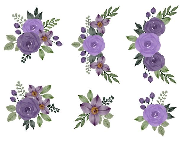 Arrangement aquarel frame van paarse rozen voor huwelijksuitnodiging