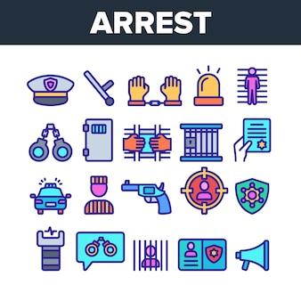Arrestatie elementen teken icons set