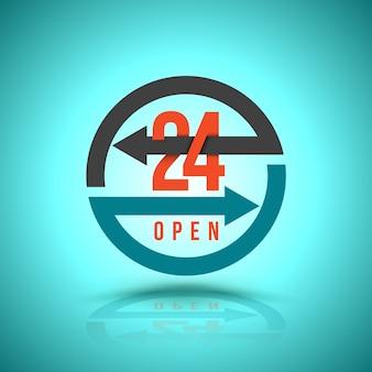 Arrow circle service 24 uur open icoon