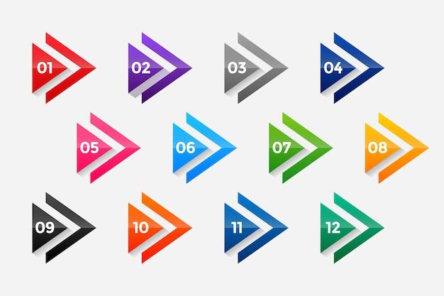 Arrow directionele opsommingstekens nummers van één tot twaalf