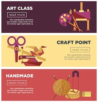 Art class, ambachtelijke punt en handgemaakte projecten internetpagina's