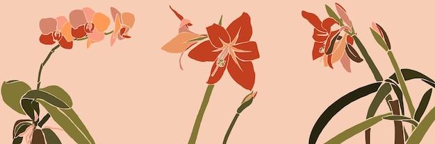 Art collage kamerplant bladeren en bloemen in een minimalistische trendy stijl. silhouet van orchidee, amaryllis planten in een eigentijdse eenvoudige abstracte stijl op een roze achtergrond. vector illustratie
