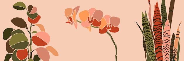 Art collage kamerplant bladeren en bloemen in een minimalistische trendy stijl. silhouet van orchidee, sansevieria en peperomia planten in een eigentijdse eenvoudige abstracte stijl op een roze achtergrond. vector