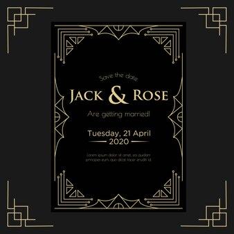 Art deco bruiloft uitnodiging ontwerpsjabloon