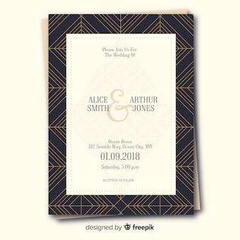 Art deco bruiloft uitnodiging sjabloon