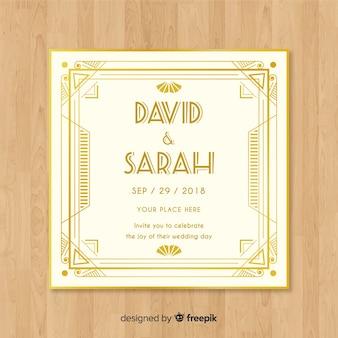 Art deco bruiloft uitnodiging sjabloonontwerp met gouden elementen