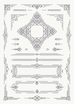 Art deco en arabische lijn ontwerpelementen zwarte kleur
