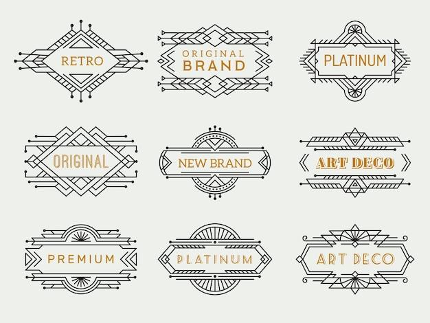 Art deco etiketten. frames vintage luxe café antieke elementen schetsen restaurant kunstcollectie. Premium Vector