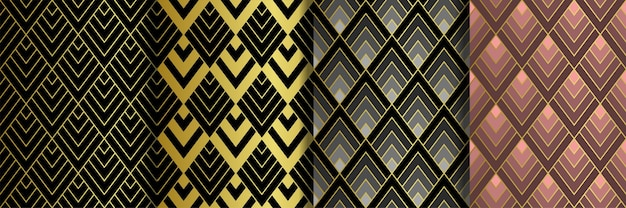 Art deco gouden naadloze patronen set gatsby luxe retro achtergronden
