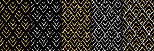 Art deco gouden pailletten naadloze patronen set gatsby luxe retro achtergronden