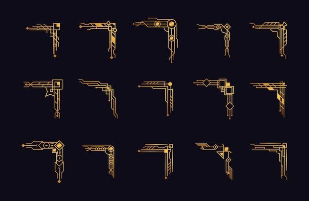 Art deco hoeken gouden set
