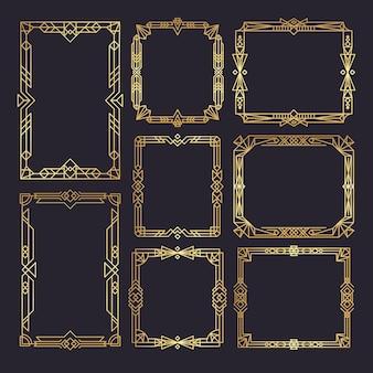 Art deco kaders. bruiloft frames sjabloon jaren 1920 decor stijl gouden randen swirl vintage