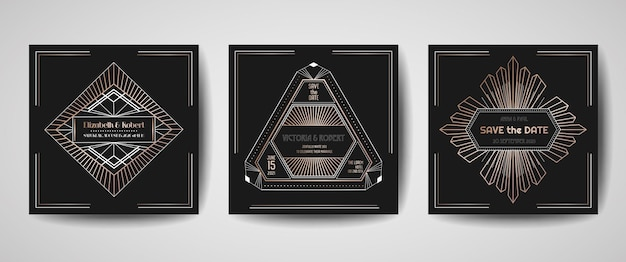 Art deco luxe bruiloft save the date, uitnodigingskaarten collectie met gouden geometrische frames. vector trendy omslag, grafische poster, gatsby 1920-brochure, ontwerpsjabloon