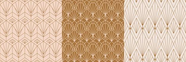 Art deco naadloze patronen in een trendy minimale lineaire stijl. vector abstracte retro achtergronden met geometrische vormen. voor verpakkingen, textielbedrukking, branding, behang, hoezen