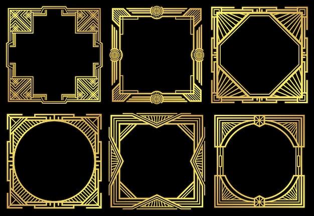 Art deco nouveau borderframes in jaren 20-stijl