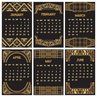 Art deco of gatsby-kalender Premium Vector