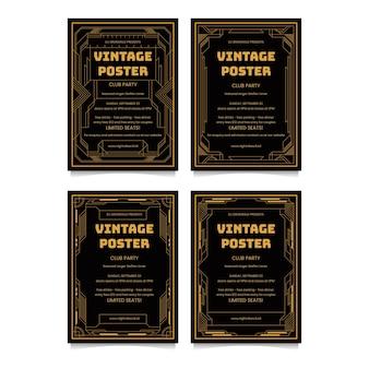 Art deco poster ontwerp sjabloon collecties