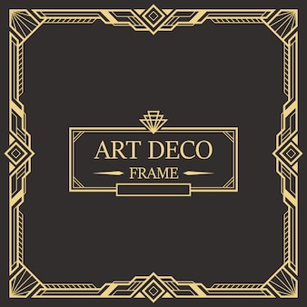 Art deco rand en frame sjabloon.