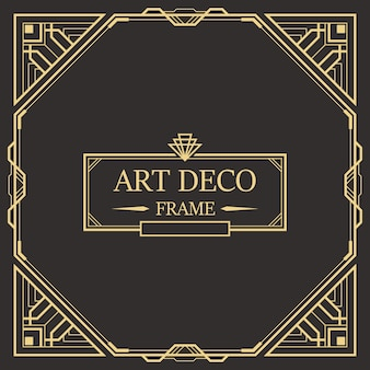 Art deco-rand en kadersjabloon.