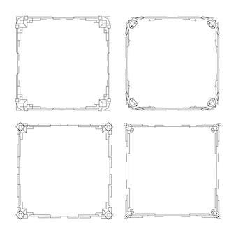 Art deco randen en kaders lijn vintage geometrisch patroon vignet decoratieve lineaire kaders