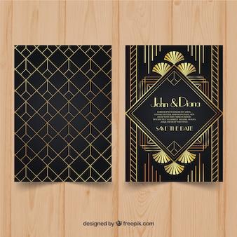 Art deco stijl bruiloft uitnodiging sjabloon