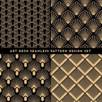 Art deco stijl naadloze patroon ingesteld