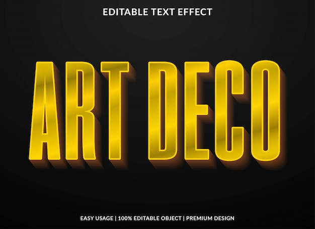 Art deco tekst effect sjabloon met retro type stijl en vetgedrukte tekst