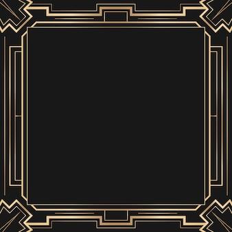 Art deco vector frame met ruitpatroon op donkere achtergrond Gratis Vector