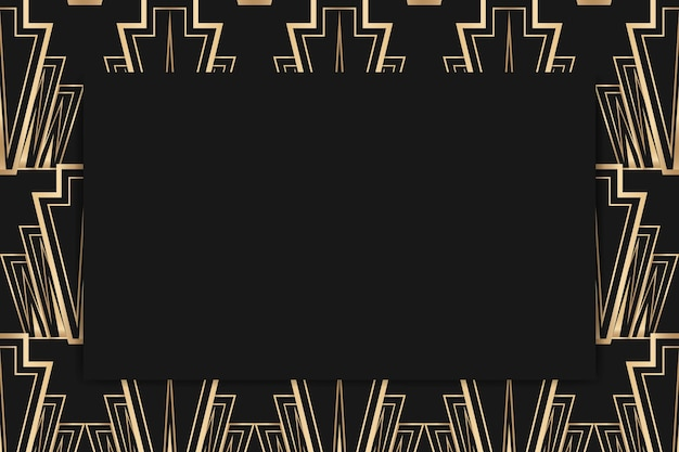 Art deco vector frame met ruitpatroon op donkere achtergrond