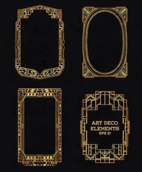 Art deco vintage frames Premium Vector