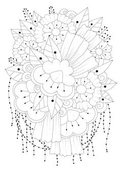 Art line art therapie kleurplaat doodle stijl bloemen
