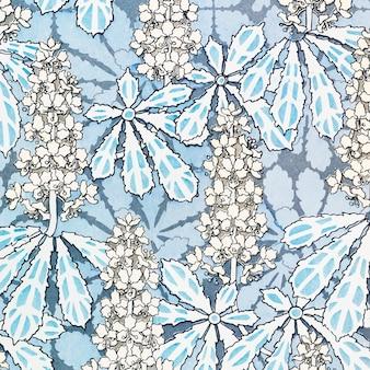 Art nouveau kastanje bloem patroon achtergrond