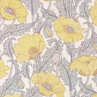 Art nouveau klaproos bloem patroon achtergrond