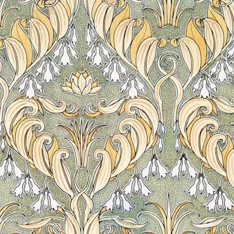 Art nouveau salomons zegel bloem patroon achtergrond